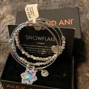 Alex and Ani crystal snowflake set of three
